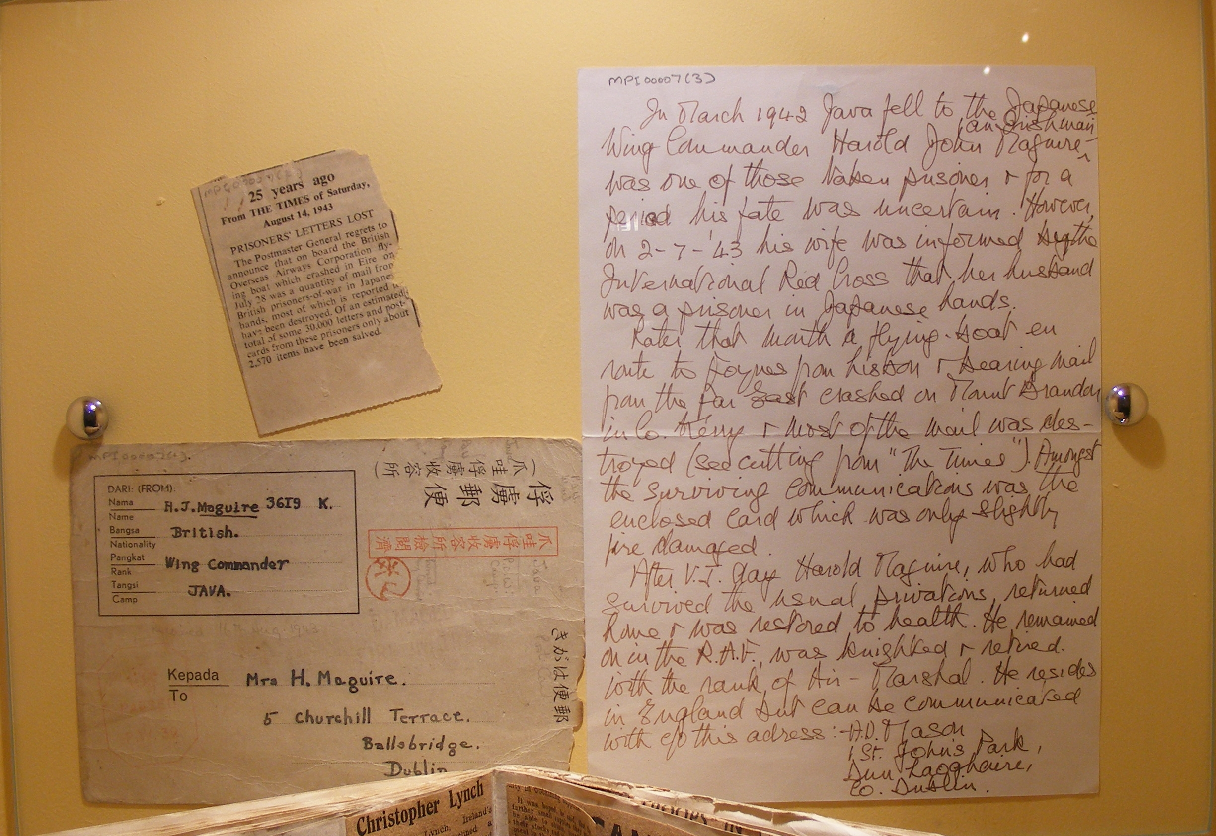 A prisoner of war letter, recovered from the               crash site. G-AGES carried thousands of letters and               cards.