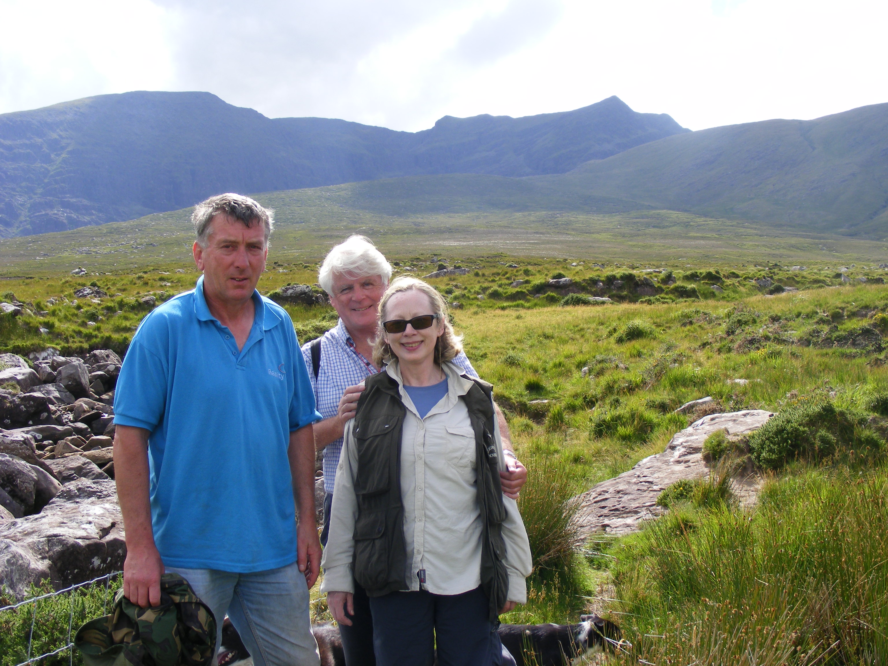 Katie and Graham Frazer along with local man               Seamus Fitzgerald who guided us up the mountain.